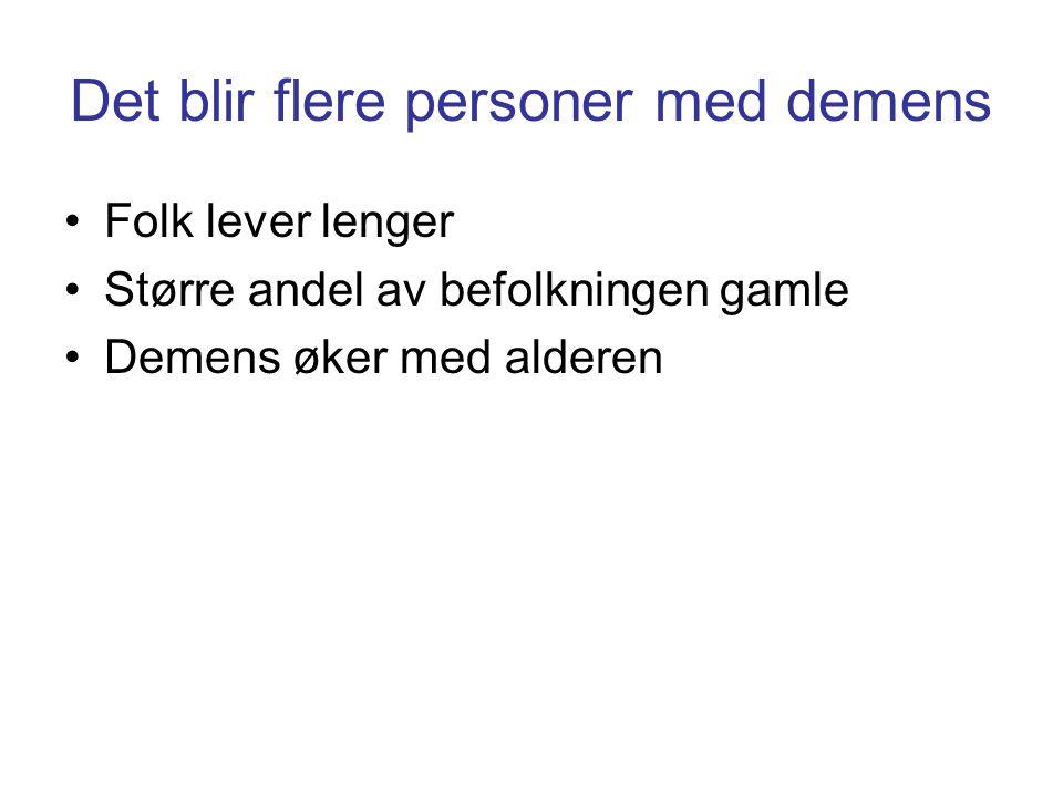 Det blir flere personer med demens •Folk lever lenger •Større andel av befolkningen gamle •Demens øker med alderen