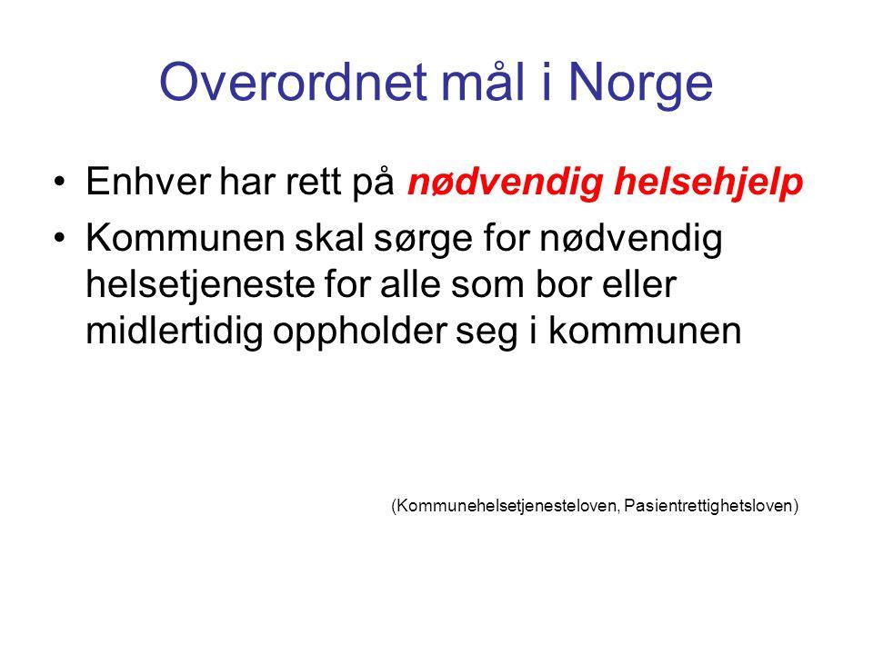 Overordnet mål i Norge •Enhver har rett på nødvendig helsehjelp •Kommunen skal sørge for nødvendig helsetjeneste for alle som bor eller midlertidig op