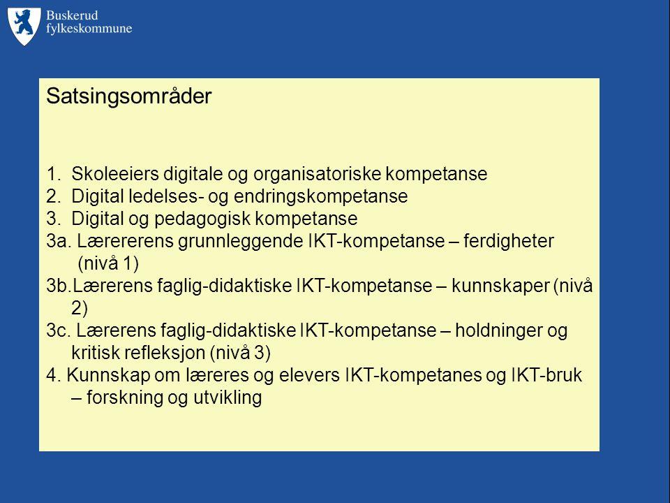 Satsingsområder 1.Skoleeiers digitale og organisatoriske kompetanse 2.Digital ledelses- og endringskompetanse 3.Digital og pedagogisk kompetanse 3a.