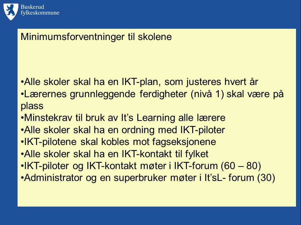 Minimumsforventninger til skolene •Alle skoler skal ha en IKT-plan, som justeres hvert år •Lærernes grunnleggende ferdigheter (nivå 1) skal være på plass •Minstekrav til bruk av It's Learning alle lærere •Alle skoler skal ha en ordning med IKT-piloter •IKT-pilotene skal kobles mot fagseksjonene •Alle skoler skal ha en IKT-kontakt til fylket •IKT-piloter og IKT-kontakt møter i IKT-forum (60 – 80) •Administrator og en superbruker møter i It'sL- forum (30)