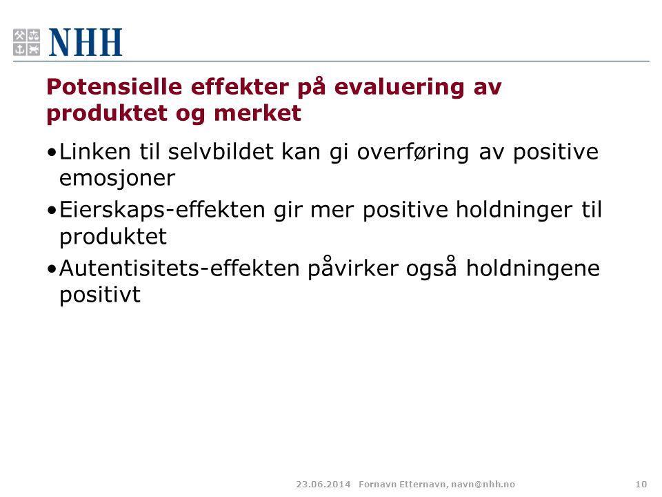 Potensielle effekter på evaluering av produktet og merket •Linken til selvbildet kan gi overføring av positive emosjoner •Eierskaps-effekten gir mer p
