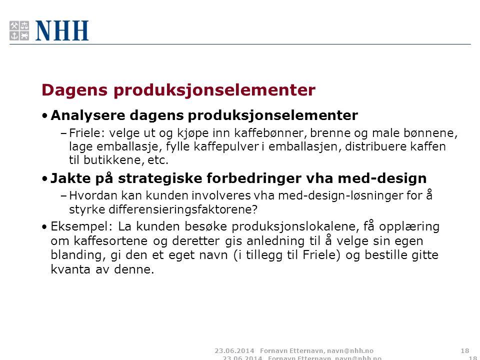 23.06.2014Fornavn Etternavn, navn@nhh.no18 Dagens produksjonselementer •Analysere dagens produksjonselementer –Friele: velge ut og kjøpe inn kaffebønn
