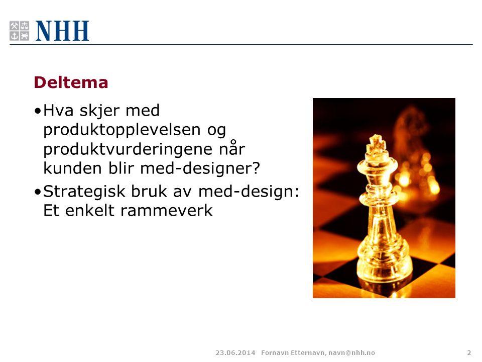 Deltema •Hva skjer med produktopplevelsen og produktvurderingene når kunden blir med-designer? •Strategisk bruk av med-design: Et enkelt rammeverk 23.