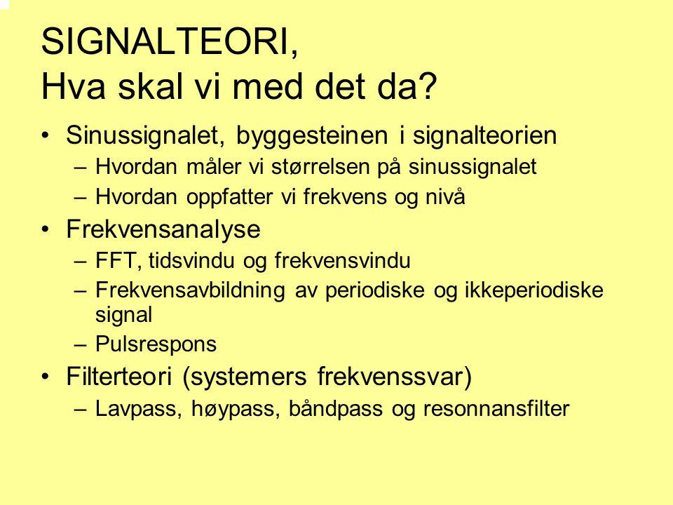 SIGNALTEORI, Hva skal vi med det da? •Sinussignalet, byggesteinen i signalteorien –Hvordan måler vi størrelsen på sinussignalet –Hvordan oppfatter vi