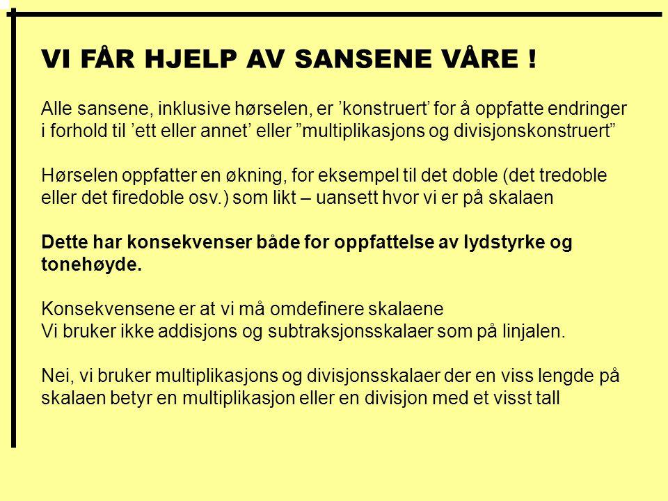 VI FÅR HJELP AV SANSENE VÅRE .