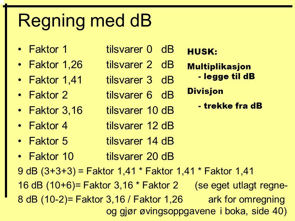Regning med dB •Faktor 1 tilsvarer 0 dB •Faktor 1,26 tilsvarer 2 dB •Faktor 1,41 tilsvarer 3 dB •Faktor 2 tilsvarer 6 dB •Faktor 3,16 tilsvarer 10 dB •Faktor 4 tilsvarer 12 dB •Faktor 5tilsvarer 14 dB •Faktor 10 tilsvarer 20 dB 9 dB (3+3+3) = Faktor 1,41 * Faktor 1,41 * Faktor 1,41 16 dB (10+6)= Faktor 3,16 * Faktor 2(se eget utlagt regne- 8 dB (10-2)= Faktor 3,16 / Faktor 1,26 ark for omregning og gjør øvingsoppgavene i boka, side 40) HUSK: Multiplikasjon - legge til dB Divisjon - trekke fra dB