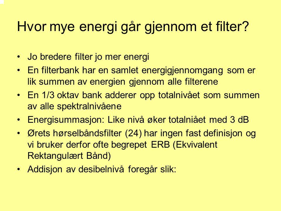 Hvor mye energi går gjennom et filter? •Jo bredere filter jo mer energi •En filterbank har en samlet energigjennomgang som er lik summen av energien g