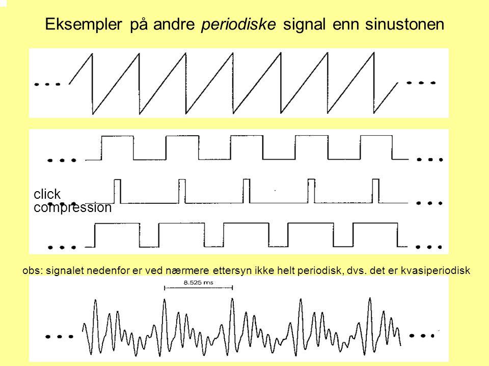 Eksempler på andre periodiske signal enn sinustonen compression click obs: signalet nedenfor er ved nærmere ettersyn ikke helt periodisk, dvs. det er