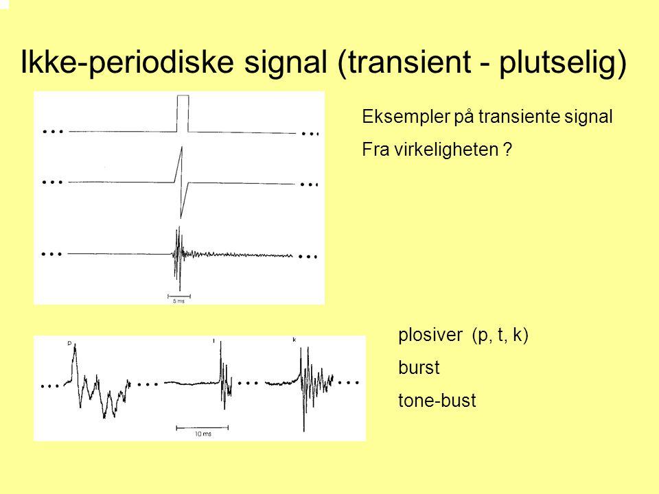 Ikke-periodiske signal (transient - plutselig) plosiver (p, t, k) burst tone-bust Eksempler på transiente signal Fra virkeligheten ?