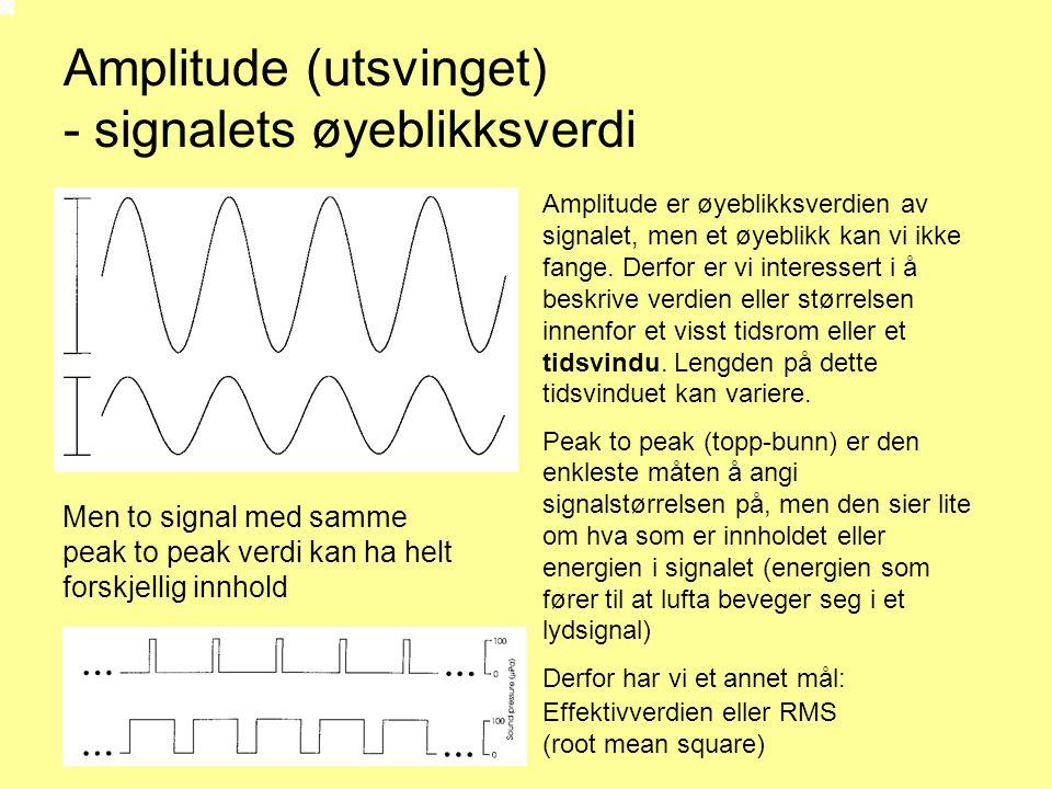 Amplitude (utsvinget) - signalets øyeblikksverdi Men to signal med samme peak to peak verdi kan ha helt forskjellig innhold Amplitude er øyeblikksverdien av signalet, men et øyeblikk kan vi ikke fange.