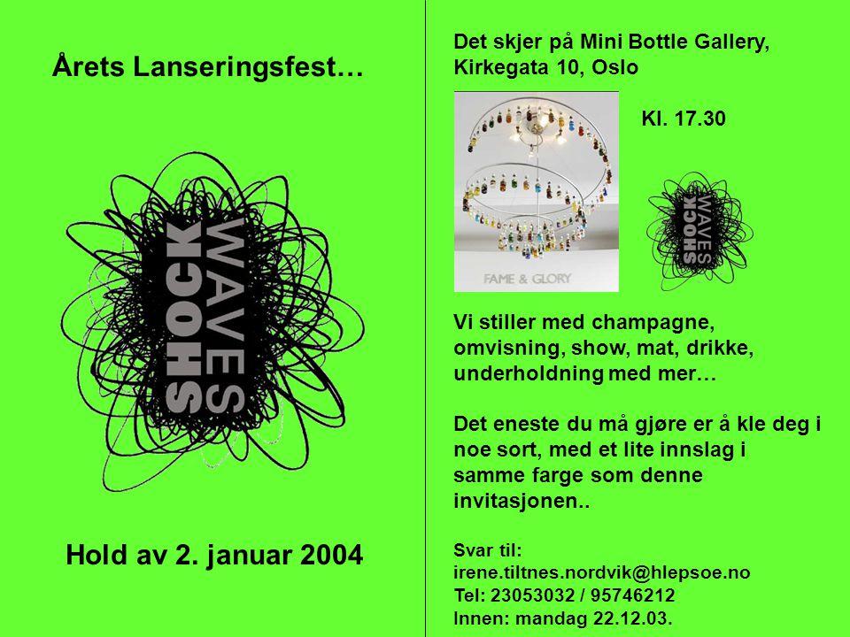 Hold av 2. januar 2004 Årets Lanseringsfest… Det skjer på Mini Bottle Gallery, Kirkegata 10, Oslo Kl. 17.30 Vi stiller med champagne, omvisning, show,