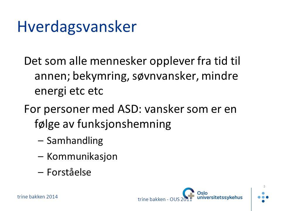 trine bakken 2014 4 trine bakken - OUS 2011 Når blir hverdagsvansker lidelse.