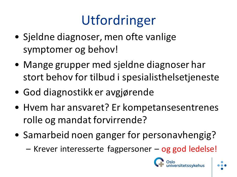 Utfordringer •Sjeldne diagnoser, men ofte vanlige symptomer og behov! •Mange grupper med sjeldne diagnoser har stort behov for tilbud i spesialisthels