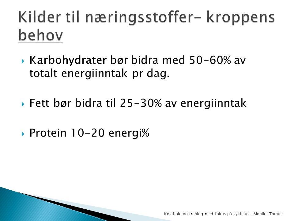  Karbohydrater bør bidra med 50-60% av totalt energiinntak pr dag.  Fett bør bidra til 25-30% av energiinntak  Protein 10-20 energi% Kosthold og tr