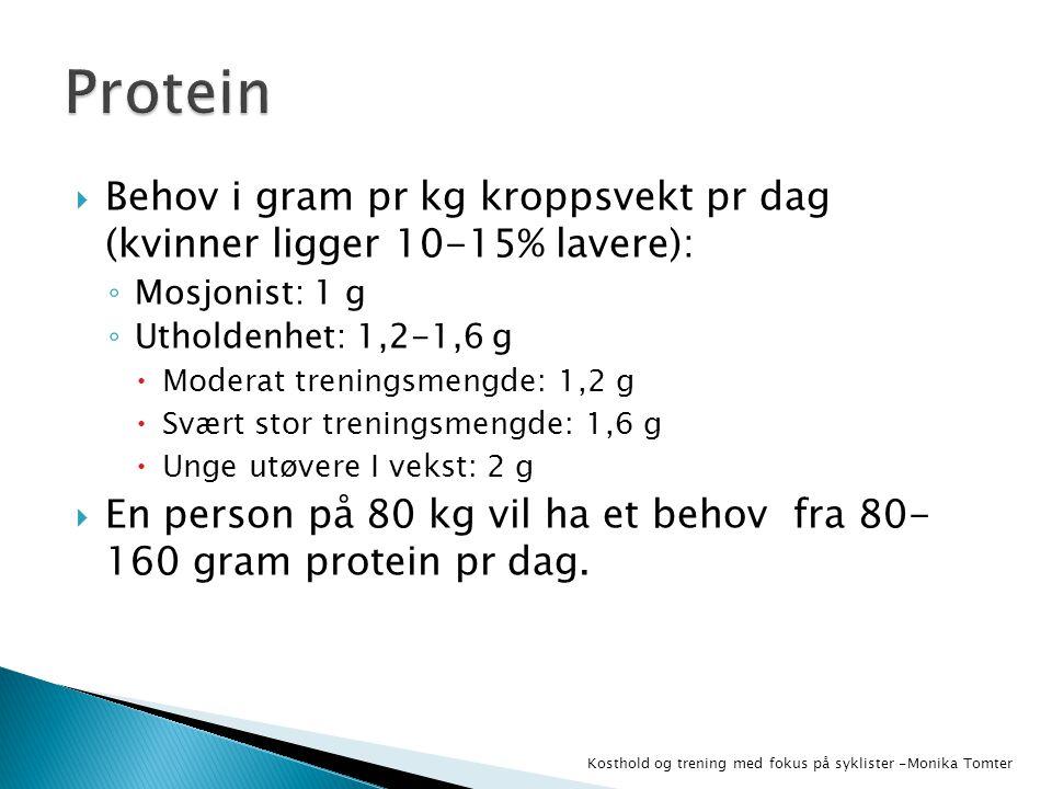  Behov i gram pr kg kroppsvekt pr dag (kvinner ligger 10-15% lavere): ◦ Mosjonist: 1 g ◦ Utholdenhet: 1,2-1,6 g  Moderat treningsmengde: 1,2 g  Svæ