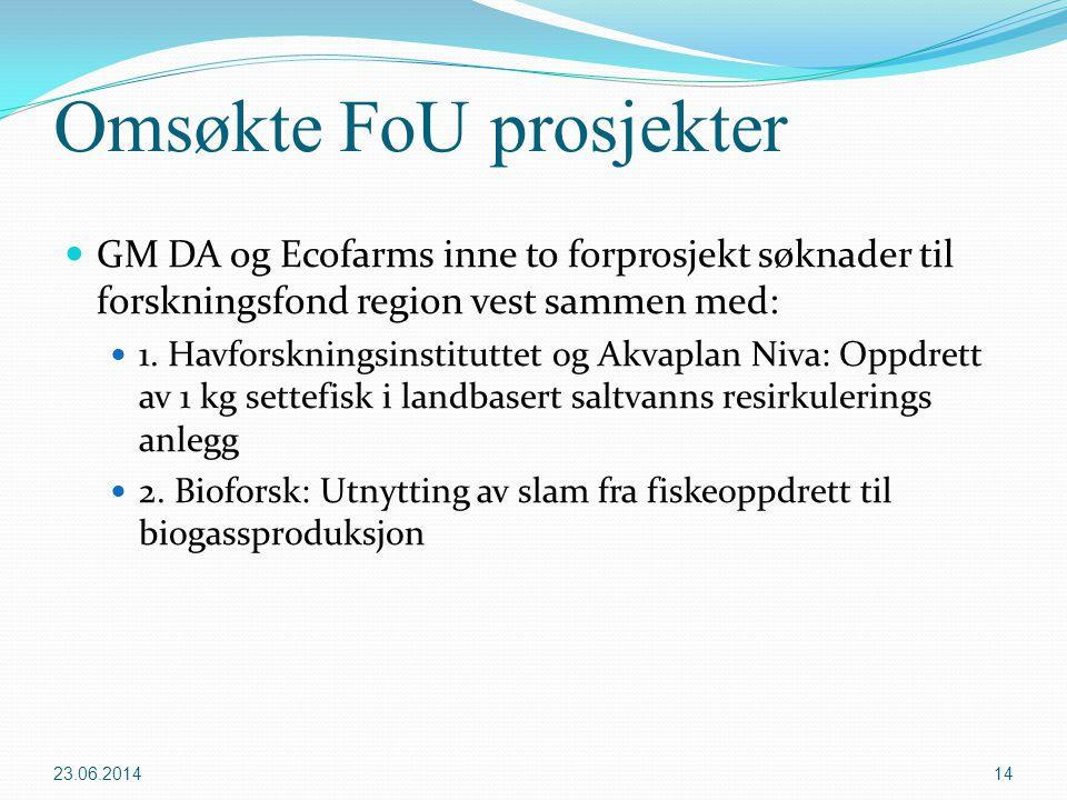 Omsøkte FoU prosjekter  GM DA og Ecofarms inne to forprosjekt søknader til forskningsfond region vest sammen med:  1. Havforskningsinstituttet og Ak