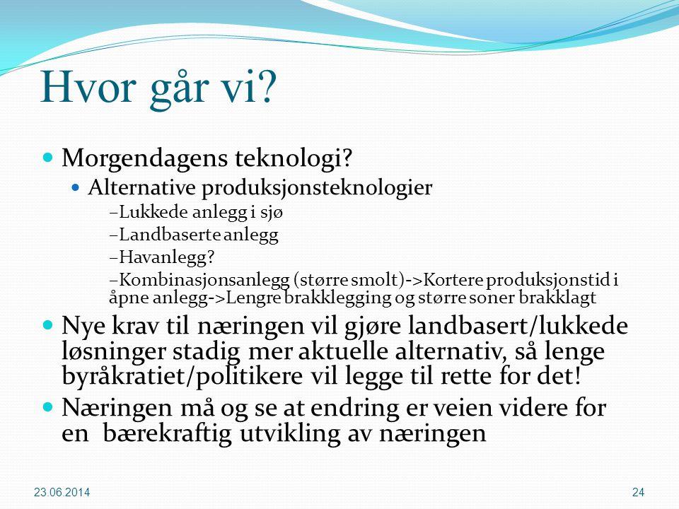 Hvor går vi?  Morgendagens teknologi?  Alternative produksjonsteknologier –Lukkede anlegg i sjø –Landbaserte anlegg –Havanlegg? –Kombinasjonsanlegg