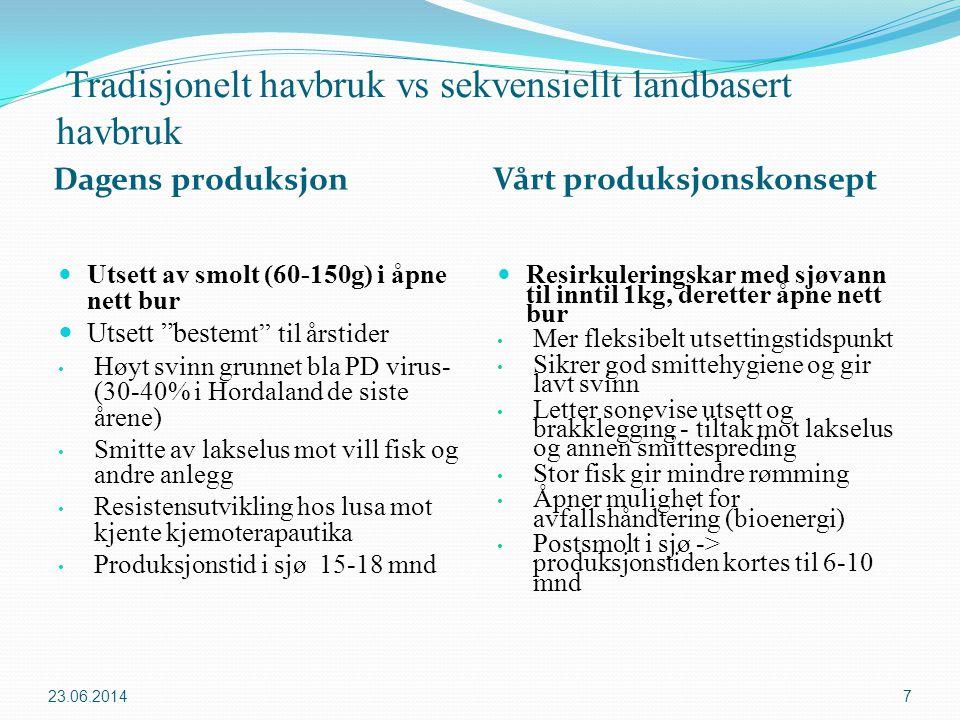Merd mot land/lukkede anlegg Tradisjonell merdproduksjon Landbasert/lukket produksjon  + Kjent og utprøvd teknologi  + Lave investering- og driftskostnader  –Fisken i merd eksponert for vann en ikke kan kontrollere kvaliteten på  -Store miljøpåvirkninger  -Sterkere opinion imot  –Mindre kjent teknologi  –Høyere investering- og driftskostnader  + Bedre kontroll mot omgivelsene  + Miljøproblemer løses effektivt  + Bedre kvalitet og vekst ved å styre miljøparametere  + Bedre kontroll med sykdom  + Lokalitet fleksibelt  ++Åpner for nye brakkleggingsregiemer 23.06.20148