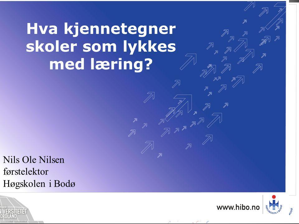 Nils Ole Nilsen førstelektor Høgskolen i Bodø Hva kjennetegner skoler som lykkes med læring?