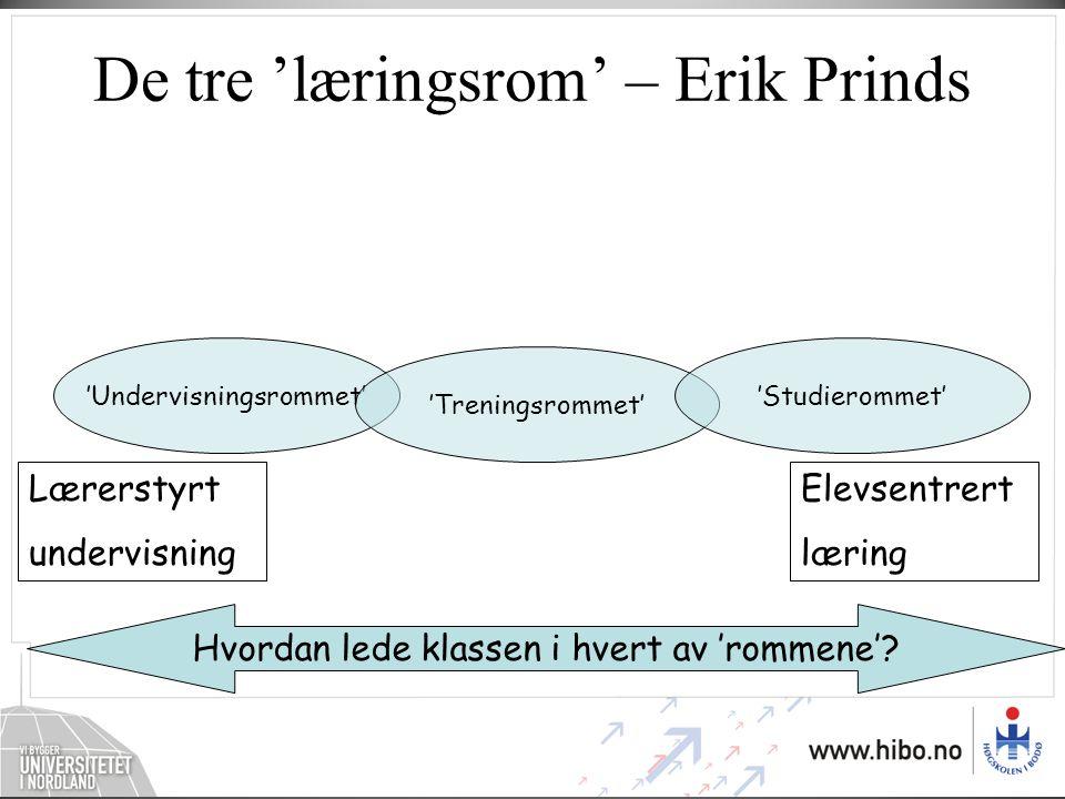 De tre 'læringsrom' – Erik Prinds Hvordan lede klassen i hvert av 'rommene'? 'Undervisningsrommet' 'Treningsrommet' 'Studierommet' Lærerstyrt undervis
