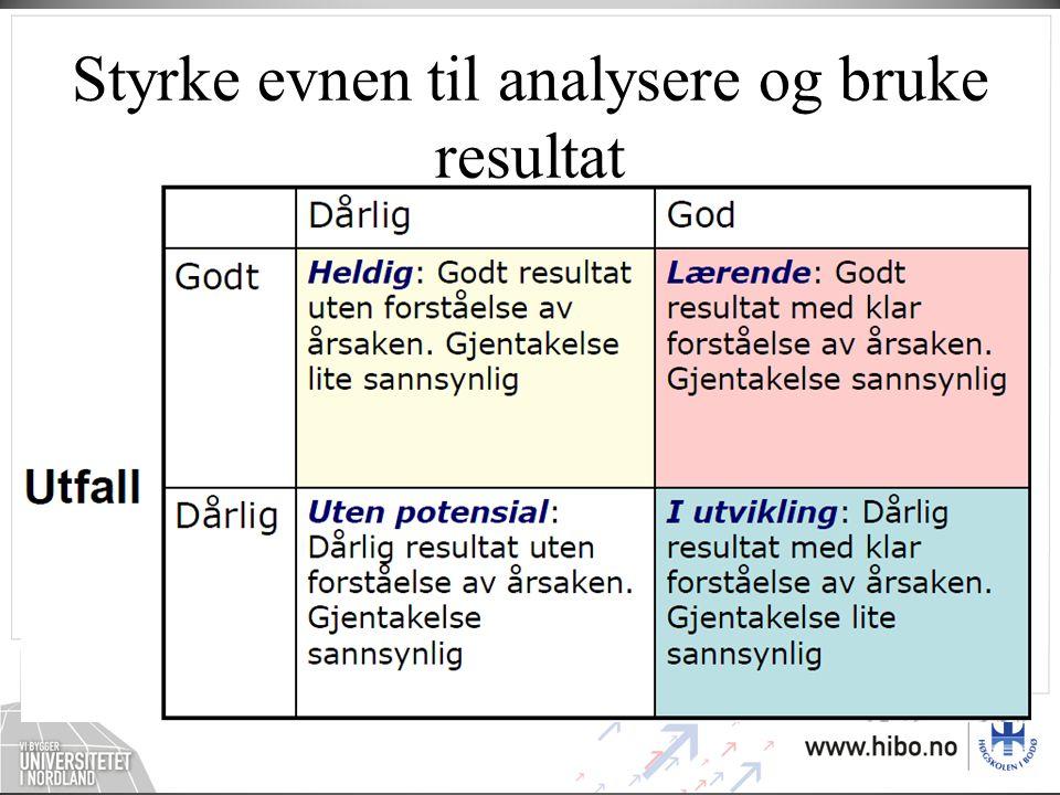Styrke evnen til analysere og bruke resultat