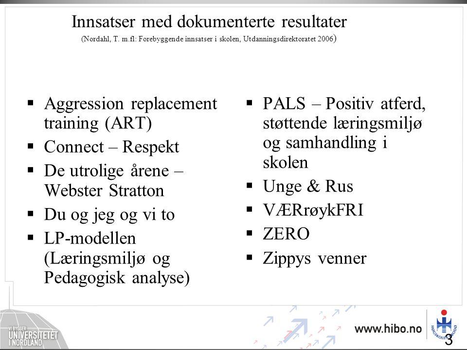 Innsatser med dokumenterte resultater (Nordahl, T. m.fl: Forebyggende innsatser i skolen, Utdanningsdirektoratet 2006 )  Aggression replacement train