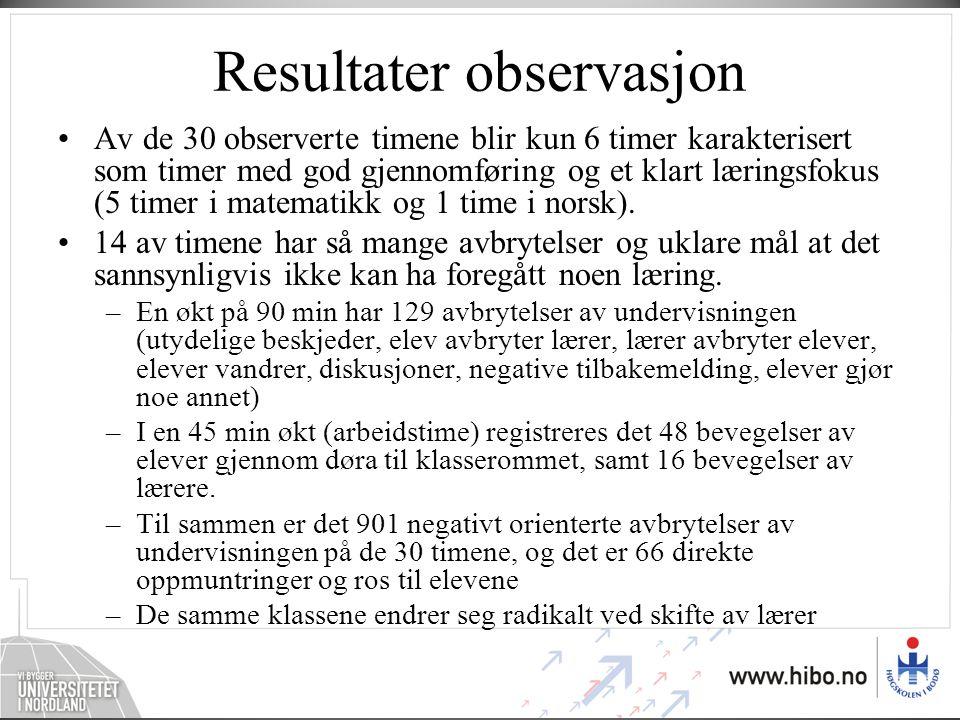 Resultater observasjon •Av de 30 observerte timene blir kun 6 timer karakterisert som timer med god gjennomføring og et klart læringsfokus (5 timer i