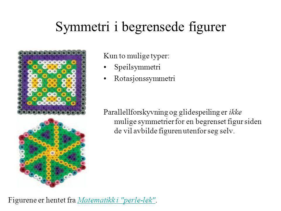 Symmetri i begrensede figurer Kun to mulige typer: •Speilsymmetri •Rotasjonssymmetri Parallellforskyvning og glidespeiling er ikke mulige symmetrier f
