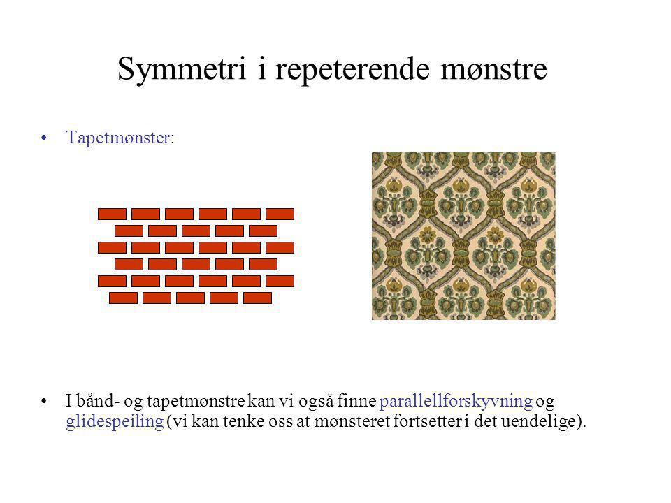 Symmetri i repeterende mønstre •Tapetmønster: •I bånd- og tapetmønstre kan vi også finne parallellforskyvning og glidespeiling (vi kan tenke oss at mø
