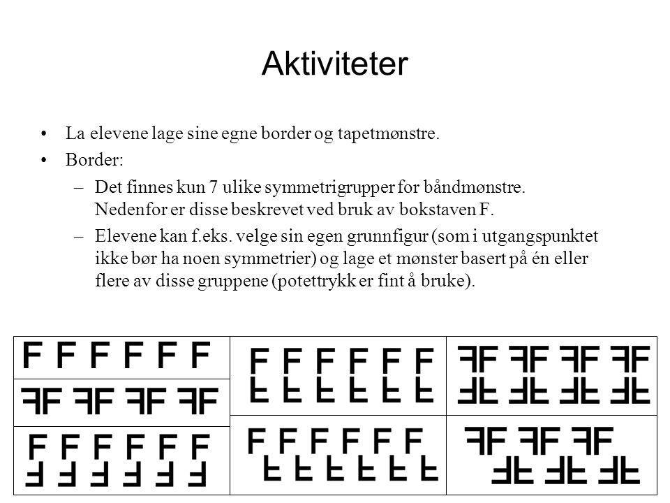 Aktiviteter •La elevene lage sine egne border og tapetmønstre. •Border: –Det finnes kun 7 ulike symmetrigrupper for båndmønstre. Nedenfor er disse bes