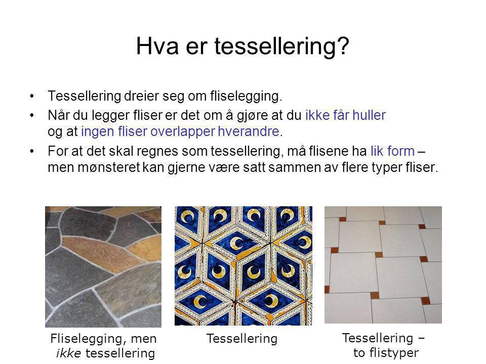 Hva er tessellering? •Tessellering dreier seg om fliselegging. •Når du legger fliser er det om å gjøre at du ikke får huller og at ingen fliser overla