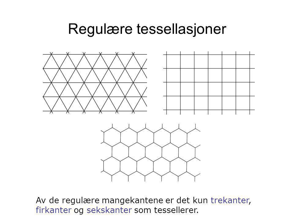 Regulære tessellasjoner Av de regulære mangekantene er det kun trekanter, firkanter og sekskanter som tessellerer.