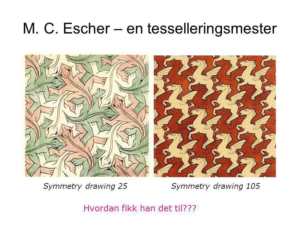 M. C. Escher – en tesselleringsmester Symmetry drawing 25 Symmetry drawing 105 Hvordan fikk han det til???