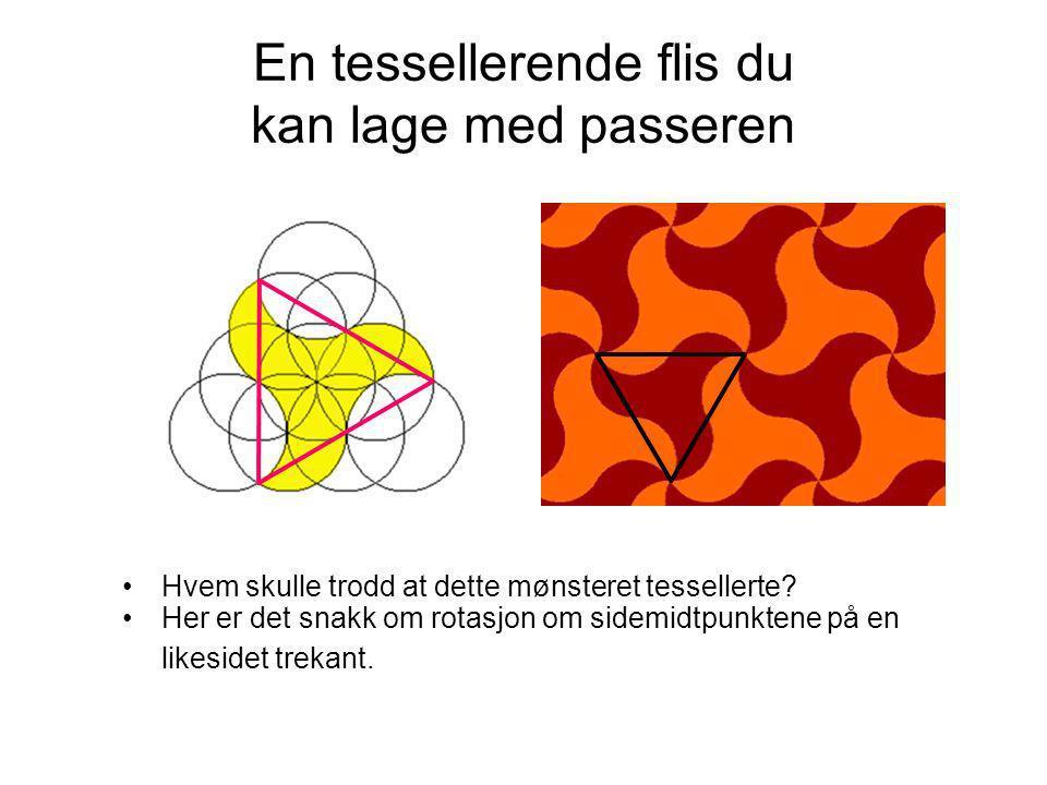 En tessellerende flis du kan lage med passeren •Hvem skulle trodd at dette mønsteret tessellerte? •Her er det snakk om rotasjon om sidemidtpunktene på