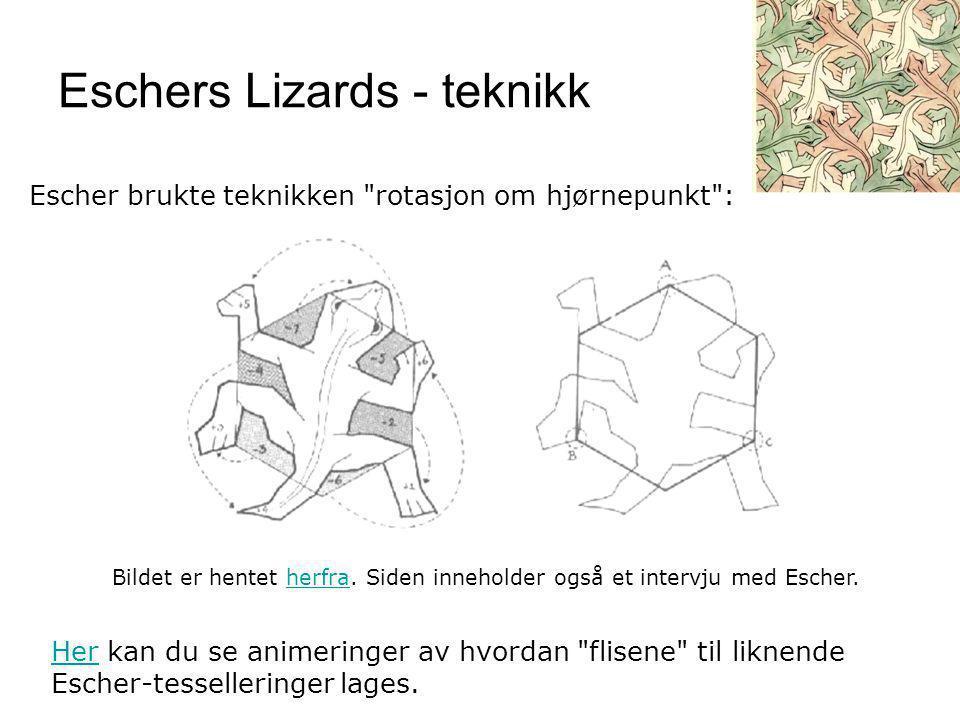 Eschers Lizards - teknikk HerHer kan du se animeringer av hvordan