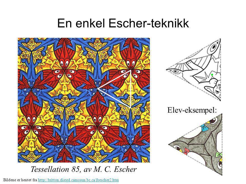 En enkel Escher-teknikk Tessellation 85, av M. C. Escher Elev-eksempel: Bildene er hentet fra http://britton.disted.camosun.bc.ca/jbescher2.htmhttp://