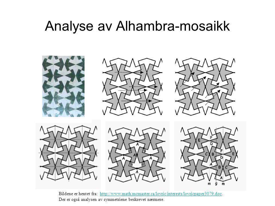 Analyse av Alhambra-mosaikk Bildene er hentet fra: http://www.math.mcmaster.ca/lovric/interests/lovricpaper3079.doc.http://www.math.mcmaster.ca/lovric