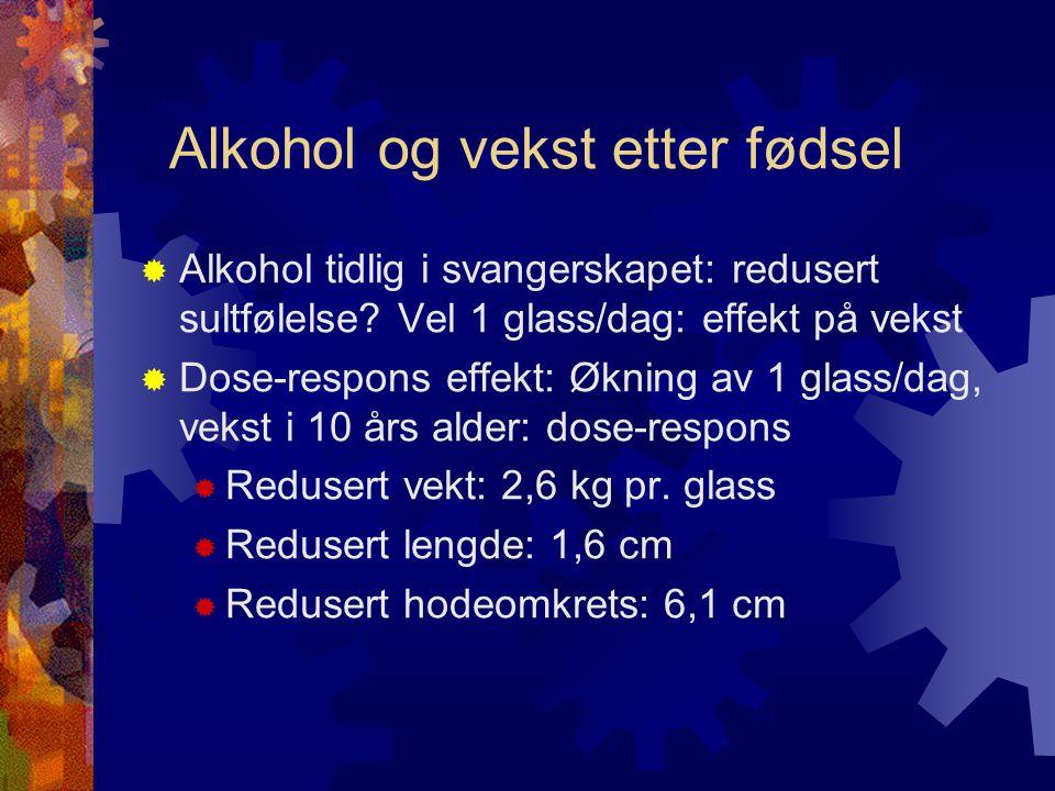 Alkohol og vekst etter fødsel  Alkohol tidlig i svangerskapet: redusert sultfølelse.