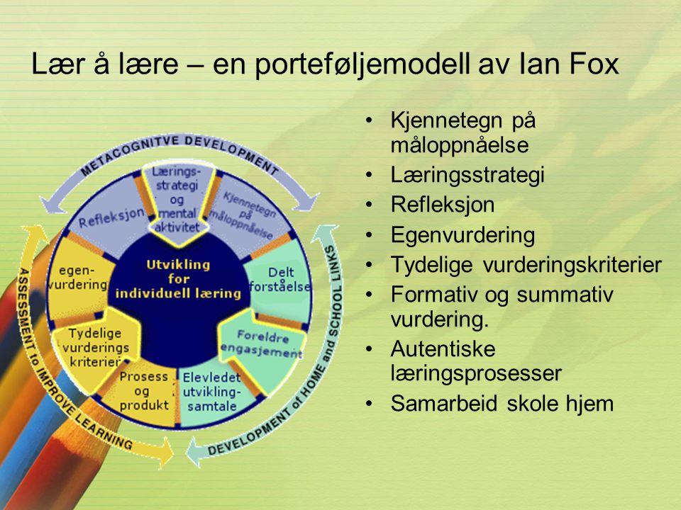 Lær å lære – en porteføljemodell av Ian Fox •Kjennetegn på måloppnåelse •Læringsstrategi •Refleksjon •Egenvurdering •Tydelige vurderingskriterier •For