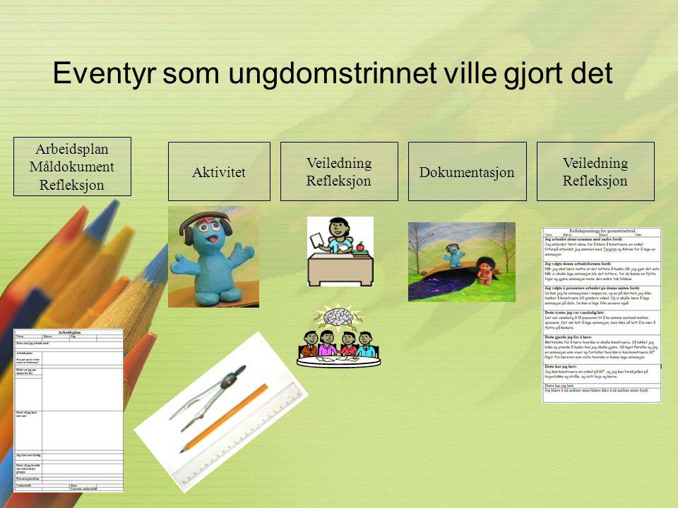 Eventyr som ungdomstrinnet ville gjort det Arbeidsplan Måldokument Refleksjon Aktivitet Veiledning Refleksjon Dokumentasjon Veiledning Refleksjon