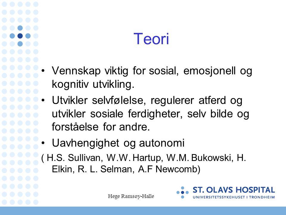 Hege Ramsøy-Halle Teori •Vennskap viktig for sosial, emosjonell og kognitiv utvikling. •Utvikler selvfølelse, regulerer atferd og utvikler sosiale fer