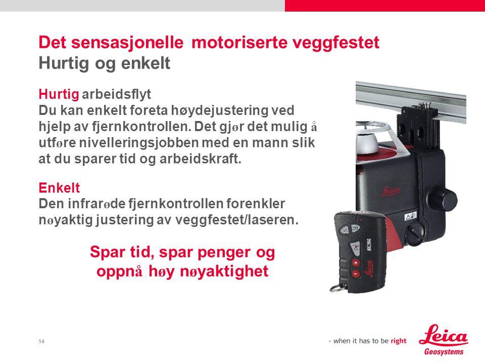 14 Det sensasjonelle motoriserte veggfestet Hurtig og enkelt Hurtig arbeidsflyt Du kan enkelt foreta høydejustering ved hjelp av fjernkontrollen.