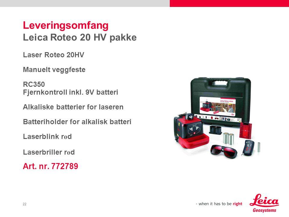 22 Leveringsomfang Leica Roteo 20 HV pakke Laser Roteo 20HV Manuelt veggfeste RC350 Fjernkontroll inkl.