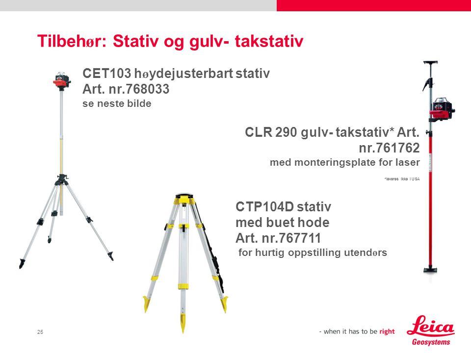 25 Tilbeh ø r: Stativ og gulv- takstativ CLR 290 gulv- takstativ* Art.