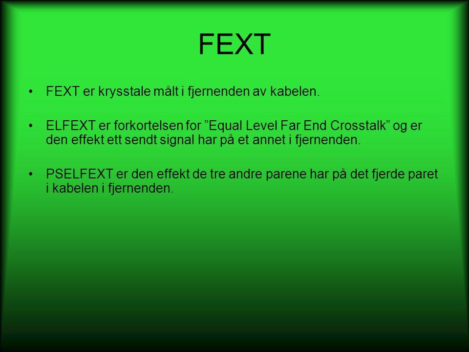 """FEXT •FEXT er krysstale målt i fjernenden av kabelen. •ELFEXT er forkortelsen for """"Equal Level Far End Crosstalk"""" og er den effekt ett sendt signal ha"""