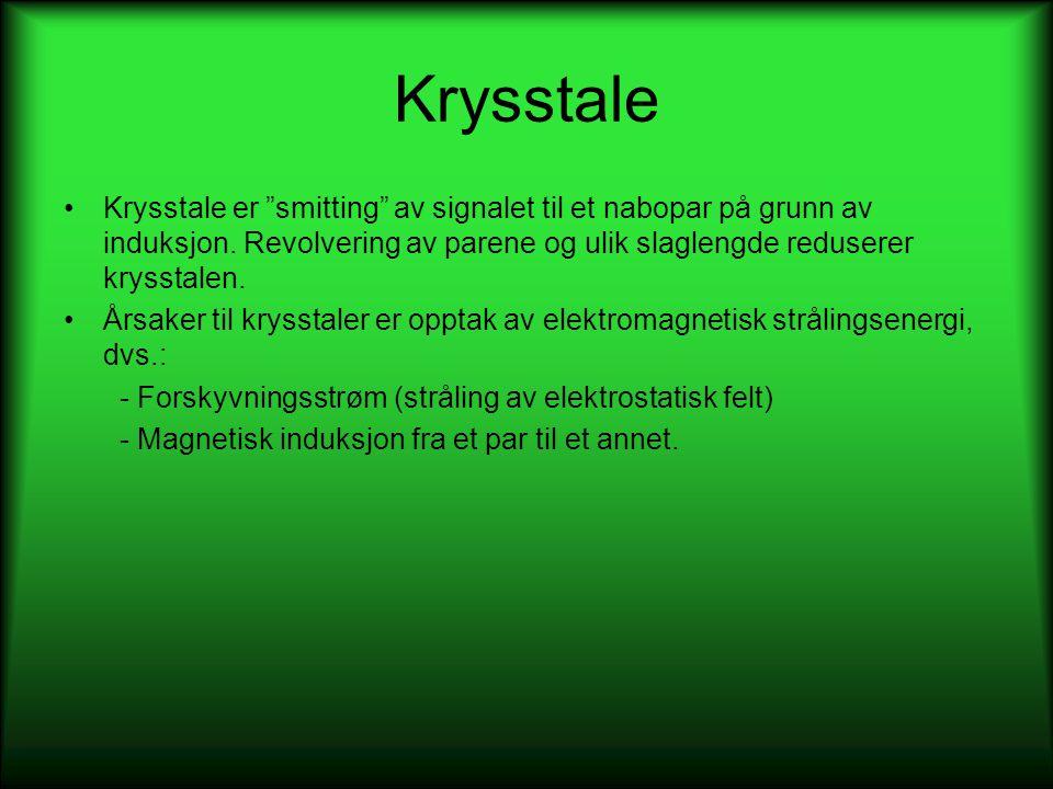 """Krysstale •Krysstale er """"smitting"""" av signalet til et nabopar på grunn av induksjon. Revolvering av parene og ulik slaglengde reduserer krysstalen. •Å"""