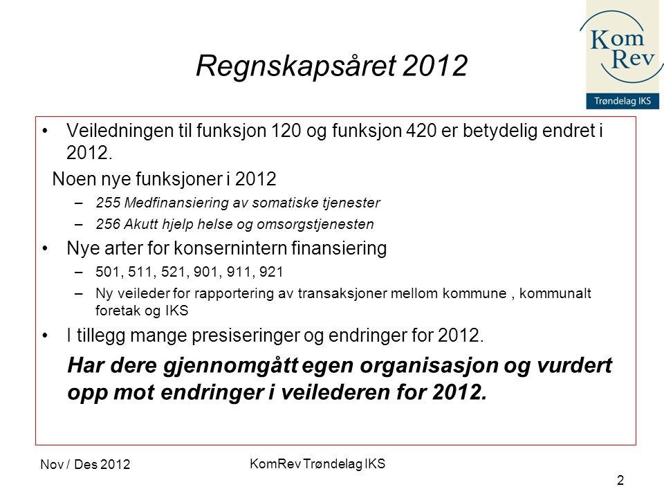KomRev Trøndelag IKS Nov / Des 2012 2 Regnskapsåret 2012 •Veiledningen til funksjon 120 og funksjon 420 er betydelig endret i 2012. Noen nye funksjone