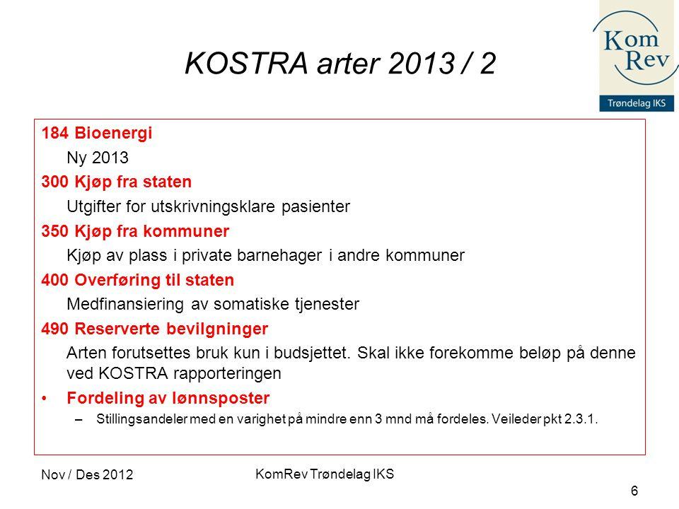 KomRev Trøndelag IKS Nov / Des 2012 6 KOSTRA arter 2013 / 2 184 Bioenergi Ny 2013 300 Kjøp fra staten Utgifter for utskrivningsklare pasienter 350 Kjø