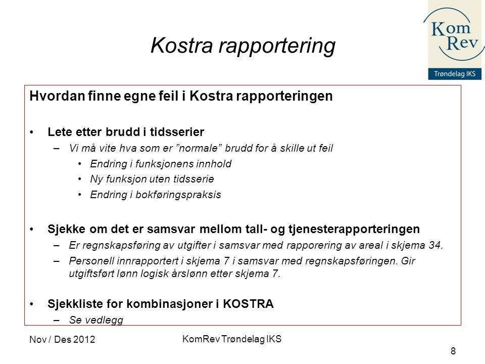 KomRev Trøndelag IKS Nov / Des 2012 8 Kostra rapportering Hvordan finne egne feil i Kostra rapporteringen •Lete etter brudd i tidsserier –Vi må vite h