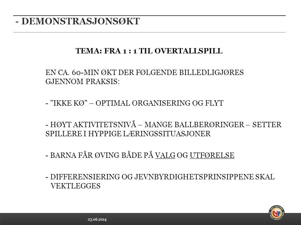 23.06.2014 - DEMONSTRASJONSØKT TEMA: FRA 1 : 1 TIL OVERTALLSPILL EN CA.